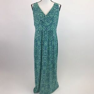 Chaps Green/Blue Maxi Dress L
